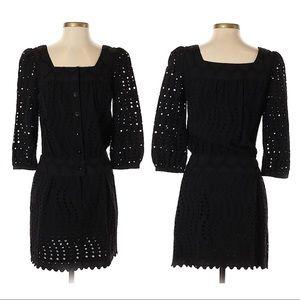 Anna Sui Black 3/4 Sleeve Laser Cut Mini Dress